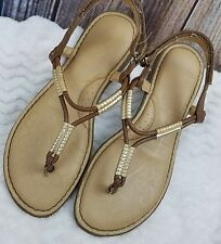 b.o.c. Big Girls Sandals Thong Gold Brown Hook and Loop Fastener Youth Born Sz 6