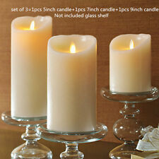 Set of 3 Ivory LED flameless Candle luminara Pillar Timer Candle