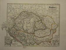 1846 SPRUNER ANTIQUE HISTORICAL MAP ~ HUNGARY THRONE OF HOUSE OF ANJOU MOHACS