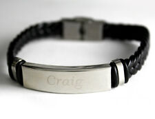 CRAIG - Bracelet With Name - Leather Braided Engraved - Gifts For Him