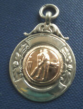 Silver & Gold  Medal / Watch Fob / Pendant - Cricket 1936 Ellesmere Shropshire