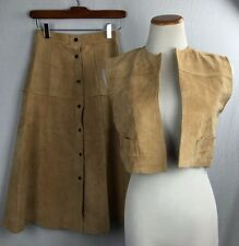 Vintage Pig Suede Vest Skirt Set 2XS XS Cosplay Costume Leather Brown Womens