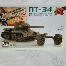 AER T-34 tank with minesweep model kit 1/72