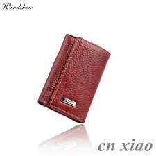 Unisex Womens Wine Red Genuine Leather Key Cases Pocket Purse Wallet
