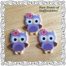 3 x Cute Lilac Owls Flatback Resin Embellishments - Hair Bow Centre Crafts