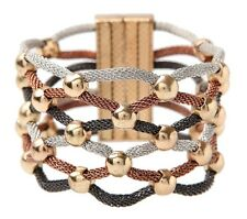 Copper/Silver/Black Mesh Beaded Thick 7 1/2 Inch Bracelet By Rain