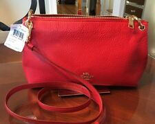 NWT Authentic Coach Charley Cross-body/shoulder bag - Red pebbled leather