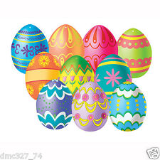 """10 EASTER Spring Party Decorations Paper Mini Colorful EASTER EGG CUTOUTS 4 1/2"""""""