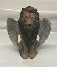 "Stoic Winged Lion - color - ceramic lion statue - 10"" tall - lots of detail"