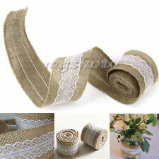 5M Natural Jute Burlap Hessian Ribbon with Lace Trims Tape Rustic Wedding Decor