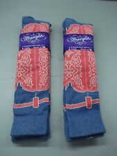 NWT Women's Wrangler Western Knee Socks Shoe Size 6-9 Multi 4 Pair #171D