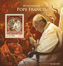 Sierra Leone 2016 MNH Pope Francis 80th Birthday Anniv 1v S/S Popes Stamps