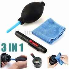 3 In 1 Lens Cleaning Cleaner Dust Blower Pen Cloth Kit For DSLR VCR Camera Canon