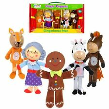 NEW GINGERBREAD MAN - Finger Puppets Set - 5 Puppets - Fiesta Crafts - boxed set