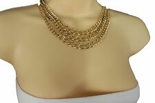 New women gold metal chain chunky links waves fashion jewerly necklace 3 strands