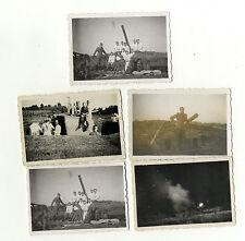 5 x Org. Foto Artillerie Stellung Nachtschiessen Detail Marineartillerie MAA