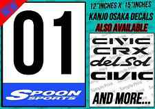 Honda Racing Door Sticker Decal Spoon Sports EF EG CRX INTEGRA KANJO OSAKA B16 R