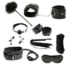 9 pcs BDSM Bondage Restraints Set Kit Ball Gag Cuff Whip Collar Fetish Sex Toy