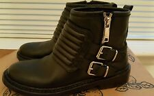 Burberry Leather Moto Ankle Boot, Black 37/ 7 US