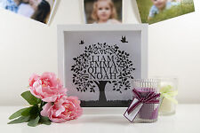 Personalised Family Tree White Box Frame Present Gift Custom Printed to Glass