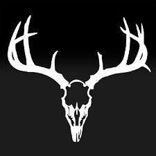 Deer Skull Antlers White Decal Window Vinyl Car Sticker Hunting Hunters Nature