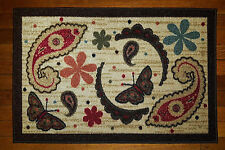 FLORAL PAISLEY BUTTERFLY BEIGE KITCHEN RUG DOOR MAT HOME DECOR 20x30 OTTOMANSON