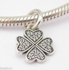 MY LUCKY SYMBOL CHARM Clear CZ Bead Sterling Silver .925 f European Bracelet 914