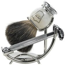 Parker 29L Shave Set - Safety Razor, Stand & 100% Black Badger Brush Included