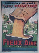 """""""FOURRAGES MELAS-FIEUX"""" Affiche originale entoilée  Litho 1934   62x82cm"""