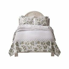 New Simply Shabby Chic Full Quilt Floral Bedspread - Blue roses Flowers NEW