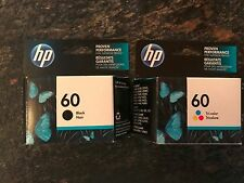 Two Genuine HP 60 Ink Cartridges Black Tri-Color FREE SHIPPING