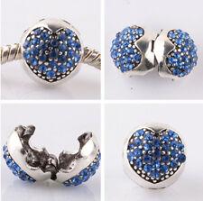 1pcs silver love ball Borland CZ snap beads fit Charm European Bracelet #A960