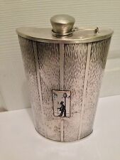 """Vintage Evans Signed Nickel Silver Drinking Flask (7 3/4"""" Tall)"""