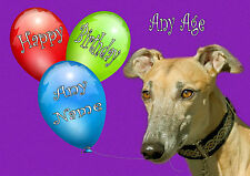 PERSONALISED FAWN GREYHOUND LURCHER DOG BIRTHDAY CARD with Illustrated Insert