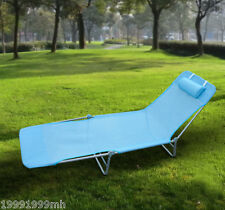 Outsunny Folding Sun Lounger Chaise Adjustable Beach Lounge Chair Blue