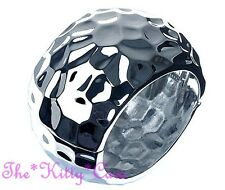 Chunky Hammered Dimpled Domed Rounded Silver Chrome Wide Hinged Statement Bangle