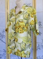 S-Tommy Bahama Womens 100% Pure Silk Floral Hawaiian Button Front Blouse Shirt