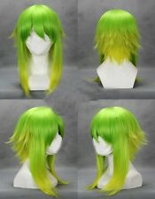 Green Mixed VOCALOID GUMI COBALT Medium Short flip Out Anime Cosplay Wig
