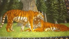 """VINTAGE WILD TIGERS TAPESTRY WALL HANGING COLORFUL LARGE 53"""" by 37 1/2"""" RUG OLD"""