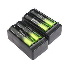 4pc 5800mAh 18650 Rechargeable Battery Li-ion 3.7V Batteries + 2X Smart Charger