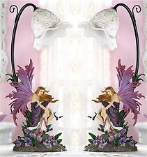 Set of 2 * 17 3/8' Tall * ORCHID SCULPTED FAIRY TABLE DESK BEDSIDE LAMPS * NIB