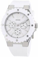 Guess Women's Multi-function Carbon Fiber White Silicone Strap Watch - W90084L1