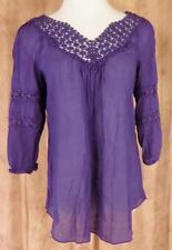 NESLAY~Paris~Sz L~Purple~3/4 Sleeve~Open Embroidered~Peasant Top