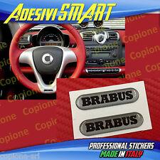 2 Adesivi Resinato Sticker 3D BRABUS Smart Argento e Nero Volante