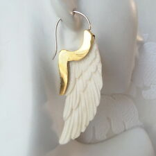Carved Angel Wings Earrings .925 Sterling Silver Hook Wholesale Modern Jewelry