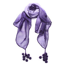 Fashion Women Exotic Hand Made Embroidery Wool and Silk Purple Scarf