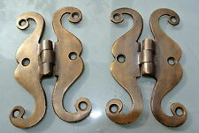 """2 small snake hinge old aged style solid Brass kitchens antiques doors 4"""""""