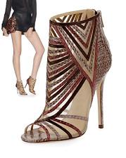 $2200 Jimmy Choo 'KARA' Peep-Toe Snake Ankle Booties Heel Shoe 37.5- 7 Pump Boot