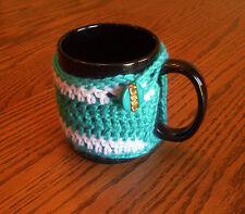 Hand Crochet Turquoise and White Coffee Mug Cozy