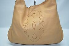 Carla Mancini Camel Tan Soft Leather Large Whipstitch Hobo Slouchy Shoulder Bag
